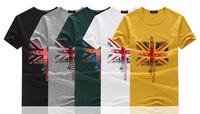 Wholesale 2014 summer new men's Union Jack Lycra stretch cotton men's t-shirt Slim Korean men's t-shirt