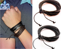 New Arrival (2pcs/lot) Wrap Leather Black and Brown Braided Rope Bracelet for Men and Women Charms Fashion Man Jewelry