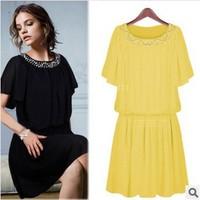 2014 MM  Fashion Plus Size S-6XL Elegant Women's High Quality Summer Short-Sleeve Solid Color Chiffon One-Piece Dress Female