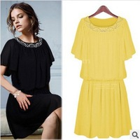 2014 MM  Fashion Plus Size S-6XL Elegant Women's High Quality Summer Short-Sleeve Solid Color Chiffon One-Piece Dress Female