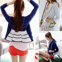 2014 spring women's HARAJUKU slim waist colorant match long-sleeve sweatshirt with a hood cardigan female