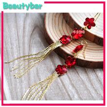 Freeshipping  Nice  Red Flower Rhinestone Long Tassel Bridal Earrings Women Marriage Accessories