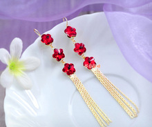 Freeshipping Nice Red Flower Rhinestone Long Tassel Bridal Earrings Women Marriage Accessories