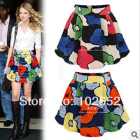2014 hot  new  big flower elastic high waist women skirt  women clothing Puff skirt  female skirts summer D8038,free shipping