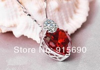 Wholesale-Heart clavicle chain necklace 925 sterling silver pendant jewelry red garnet silver PE056 sincere heart8 YML8 YML8 YML