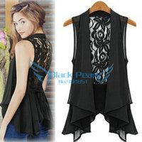 The Black Pearl New 2014 Hollow Blouse Back Kace Crochet Chiffon Lace Coat Top For Women Shirt Fashion Top Drop Shipping