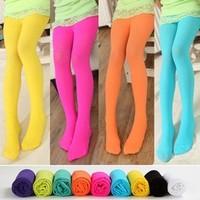 FREE SHIPPING Velvet candy color child pantyhose female children leg baby thin dance socks