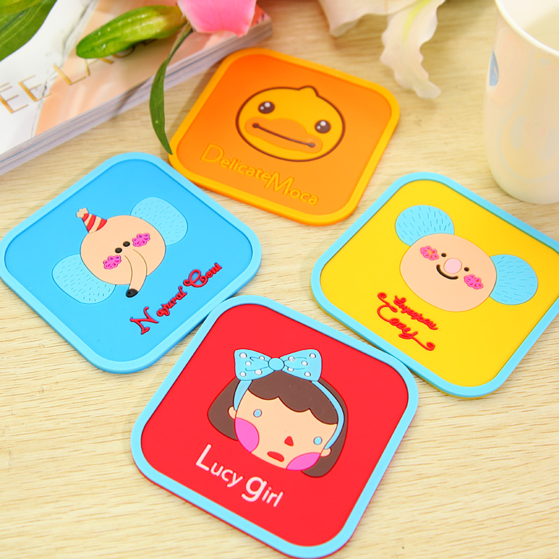 Free shipping Luck cartoon girl square silica gel coaster slip-resistant bowl pad placemat heat insulation pad(China (Mainland))