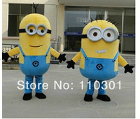 New Arrivel 2pcs despicable me Minions Minion Mascot Costume Adult Size Fancy Dress Free shipping