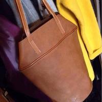 Genuine brush leather vintage handbag Personality Designer Tote shoulder buket bag