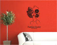 Size:50*70CM 1Piece High Quality PVC Removable Black And White Wall Stickers & Beautiful Girl Wall Sticker Home Decoration Diy