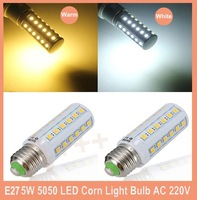 E27 5W  SMD 5050 White/Warm White LED Corn Light Bulb AC 220V