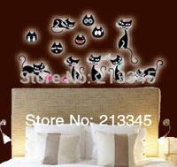[Saturday Mall - glow in the dark wall sticker cat black cartoon DIY children's room decoration home decals luminous 0030