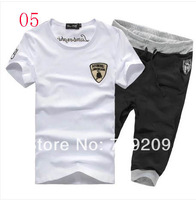 white + black short sleeve O-neck  T-shirt + shorts casual sports suit summer sprots set men's short sportswear