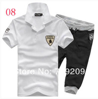 white+black Turn-down Collar short sleeve T-shirt bull and casual sports pants