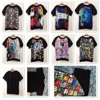 2014 Spring Summer women new fashion harajuku 3d digital printed galaxy cotton t-shirt cartoon cat camouflage top tees