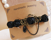 Wholesale handmade women black rose hairpin hair maker clip DIY accessories fashion girl gift