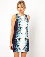 New  European&American Women Fashion Symmetric Birds Prints Sleeveless Dress, Ladies Brief Flower Mini Dress q213