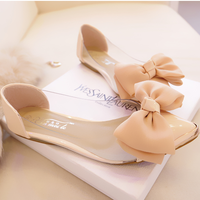 Hot-selling ol princess shoes bow transparent film shoes metal flat pointed toe flatsLarge size 35 t-40