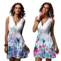 New 2014 fashion summer dress cute flower print women dress sleeveless knee-length retro beach dress 4147 free shipping
