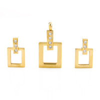 new hot sale square 18K gold plated rhinestone jewelry set fashion design Pendant Necklace earrings 316L stainless steel gift