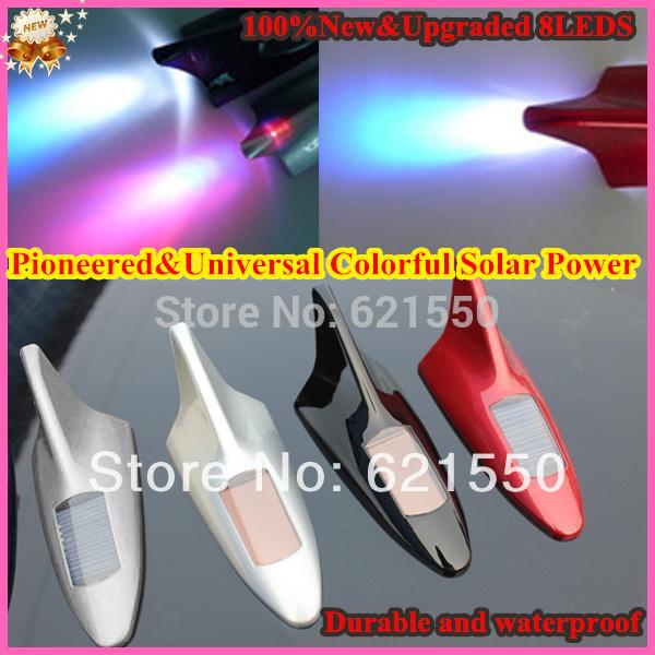 Pioneered&Universal Colorful Solar Power Shark Fin Antenna Style Upgraded Car 8 LED Flash Warning Tail Light Car Decorative Lamp(China (Mainland))