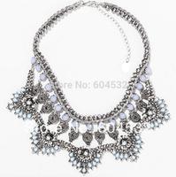 2014 Za Brand New Fashion Hand-made Layers Rhonestone Flower Pendant  Statement Necklace Bib Blue Beads Vintage Silver Collar