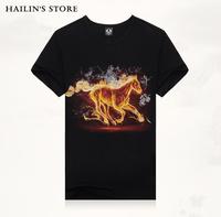New Arrival 2014 Men's 3D T Shirt Animal Horse T-Shirts 100% Cotton Fashion Sports Tee Shirt Black S M L XL XXL DM-140403