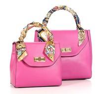 2014 women's cowhide genuine leather handbag fashion handbag fashion silk scarf women's bag