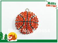 Hot Sale!!  35mm 10pcs/lot Basketball Rhinestone Pendants For Chunky Kids Necklace