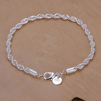 Wholesale 925 silver bracelet 2014 new Twisted Line Bracelet wedding party engagement 925 silver fashion jewelry gift