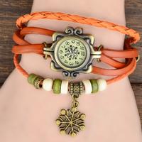 7 Colors Available Original High Quality Women Genuine Leather Vintage Watch,Bracelet Watch Christmas Snowflake Pendant