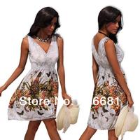 2014 New Fashion Women Cute Shorts Amoeba Print Dresses retro V-neck Knee-length  Summer Dress plus size  free shipping 4152