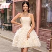 2015 bridesmaid dress short design bridal wedding dress short dress puff skirt  off the shoulder dress Free shipping