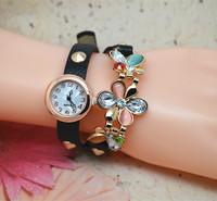 New Ladies Watch Cat's Eye decorate Flowers Leather Women's Watches Fashion Wrap Around Bracelet Watch Wholesale