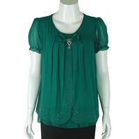 2014 quinquagenarian women's short-sleeve T-shirt plus size mother clothing summer yarn sleeve top chiffon T-shirt