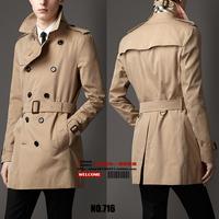 S-5XL ! Free shipping 2014 Men's brand spring fashion slim medium-long male Plus size trench outerwear coat clothing / S-XXXL