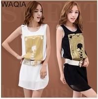 2014 new Promotions hot trendy cozy fashion women clothes casual dress Slim  tank Skull print cool girldress WA