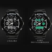 Male sport watch dual display outside multifunctional hiking waterproof electronic watch male led