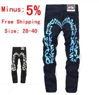 Fashion 2014 Leisure & Casual Men's Jeans Famous Brand Denim Blue Hole Jeans Men/Male Cotton Pants Straight Leg size 28~40