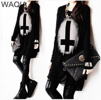 2014 new Promotions hot trendy cozy women blouse shirtsT-shirt Fashion cotton casual long T-shirt Cross character shirt WA