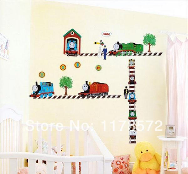 مثل الاطفال 60x130cm 1 شراء-- توماس القطار الكرتون ملصقات الحائط الشارات 5062 نمط تزيين غرف الأطفال(China (Mainland))