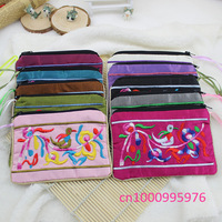 Wholesale 10 new female mobile wallet bag coin bag embroidered silk purse free shipping