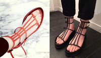 2014 spring and summer ann demeulemeester tube genuine leather platform high