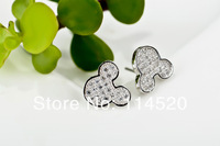 GNE0335 FANCY! Wholesale Fashion 925 Sterling silver 9*10mm mickey mouse design with CZ Earrings for women jewelry Free shipping