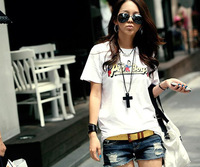 Women's t shirt 2014 new design PEPBOYS O-Neck printed t shirt  cotton short sleeve t shirt with white color