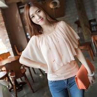 2014 Women Summer Chiffon Short Sleeve Fake Two Pieces Blouse Shirt 8067