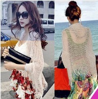 Hot 2014 NEW Solid Bikini Cover-up Beach Sun Protective Shirt Hollow Top Swimwear Cover Pp Shirt Knitted Smock Tops Cotton Beige