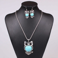 Free Shipping European and American fashion personality owl turquoise necklace & Earring jewelry sets crystal jewWholesaleelry