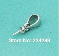 Free shipping S925 silver pearl necklace Accessories beaded pendant bead pendant wholesale 3mm oval head prop